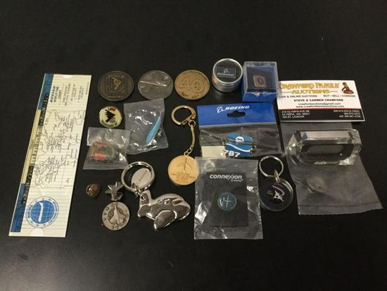 Collection of 19 Boeing pins and memorabilia. 1/4 year pilot attendance pin & keychain
