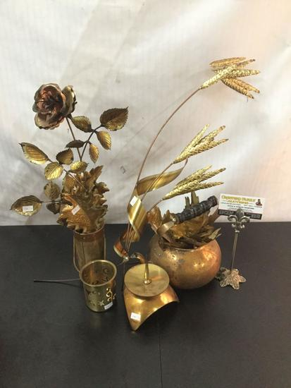 Collection of vintage brass art pieces/home decor incl. teapot, and candleholders
