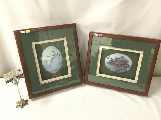"A pair of framed ""ducks in flight"" artworks by unknown artist - image on canvas"