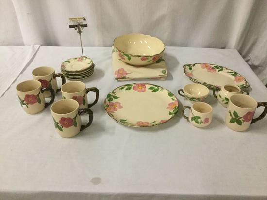 17 pcs of floral Franciscan Earthenware dish set incl. 5 Desert Rose mugs, and much more