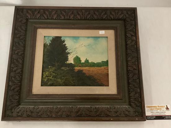 Framed original French landscape oil painting, signed by artist Eduard Caret