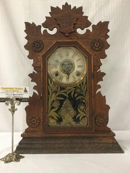 Antique oak time strike gingerbread kitchen clock with ornate floral molding & design glass front