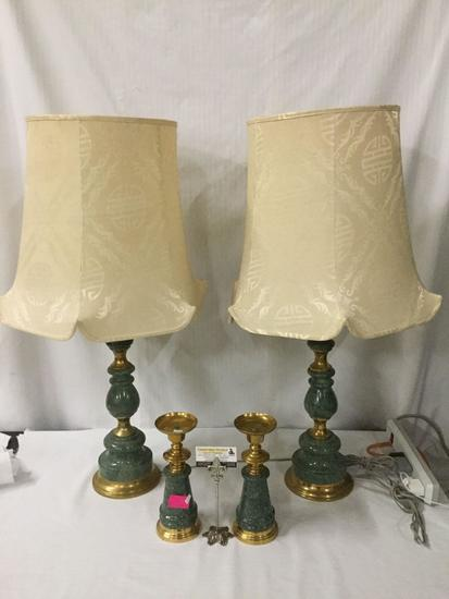 2 large vintage stone and brass Asian table lamps with smaller matching candle holders