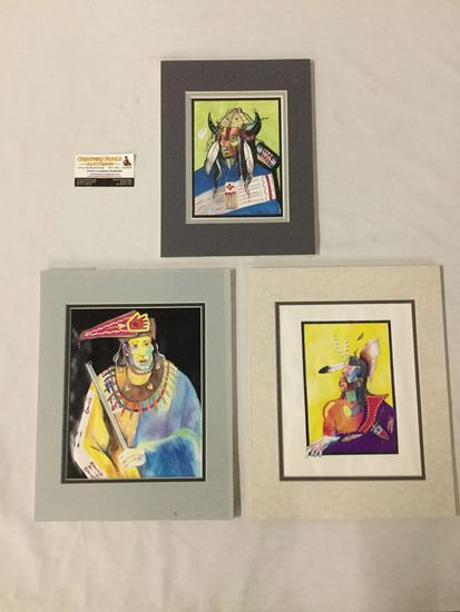 3 original portrait ink drawings of indigenous figures by Mark Ford 1994