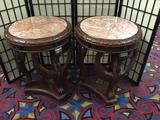 Pair of antique repro ornate hand carved wooden marble top end tables