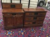 Pair of antique mid 1800s dresser and washstand with backsplash - stenciled decor & burl veneer - as