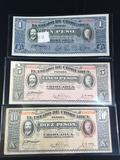 Collection of 2 UNC and one circulated bills incl. UNC 1 & 5 Mexican peso bills & a 1915 10 peso