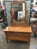 Doernbecher turn of the century empire style vanity dresser with casters and mirror - as is