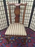 Modern antique repro dining or parlor chair with inlay back and striped seat