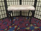 Antique bench with cabriole cast iron claw foot legs & floral upholstered seat