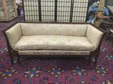Vintage antique repro sofa w/deep seats, classic horse hair upholstery and ornate frame