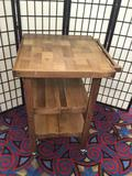 Oasis Island folding teak-wood rolling kitchen island
