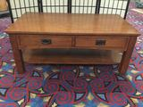 Modern mission style coffee table with 2 drawers - good cond