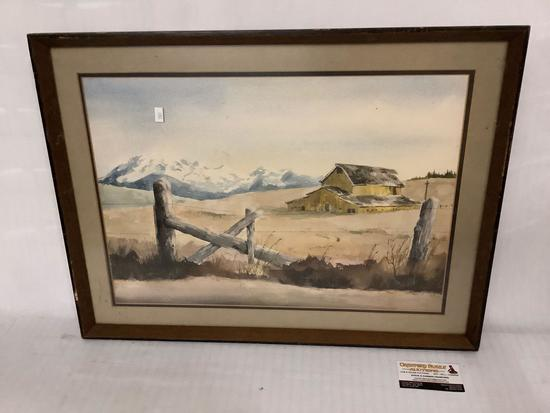 Framed original watercolor painting of barn with mountains in the background by M.W. Turner, 25x18