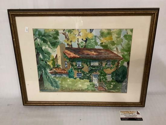 Framed original watercolor painting of the house, signed by artist Haar 1974, approx 22x16.5 inches