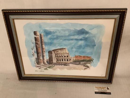 Framed watercolor painting of the Colosseum in Rome, approximately 23 x 17 inches