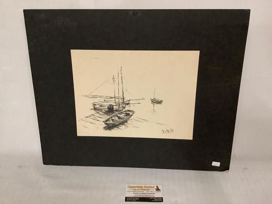 Pen and ink matted boat artwork by Jay Gould (Walt Disney animator) End of the Day, approx 20x16