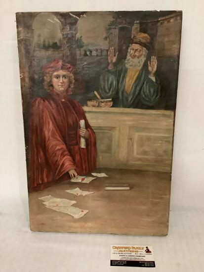 Vintage original canvas painting of scholars by unknown artist, approximately 12 x 18 inches Tear