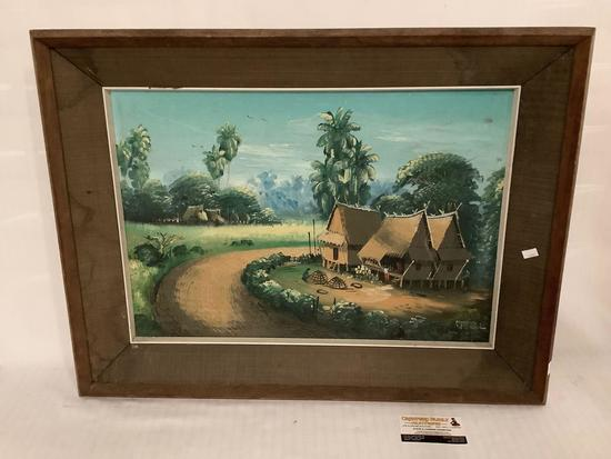 Vintage original painting on board of huts /small village , signed by unknown artist approximately