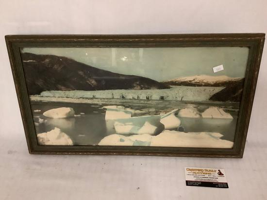Antique framed hand tinted photograph of a glacier, approximately 21 x 12 inches