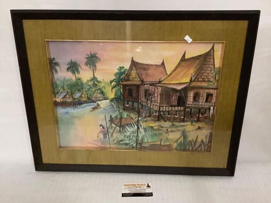 Framed original watercolor painting huts/village, signed by unknown artist, approximately 25 x 20
