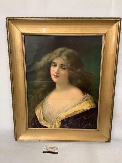 modern repro print portrait of a woman by A. Asti approx 24x29 inches in vintage frame