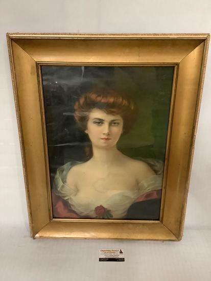 modern repro print portrait of a woman by H. Rondel approx 23x29 inches in vintage frame