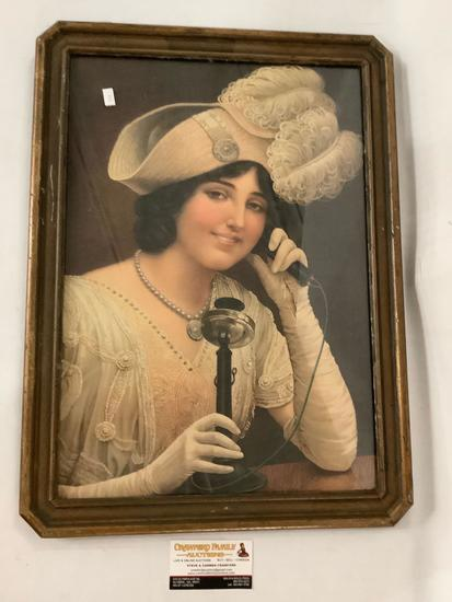 Antique framed reproduction print portrait of woman on telephone, approximately 17 x 23 inches