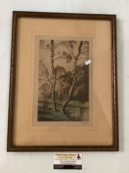 Framed hand tinted vintage nature scene print signed by artist R. Fahey, approx 14x18 inches.