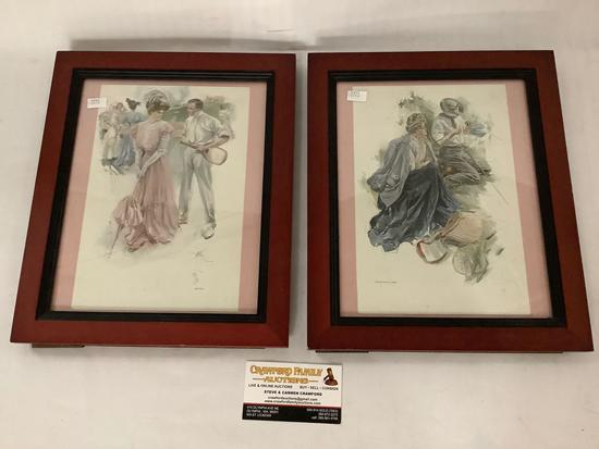2x framed early 1900s romantic leisure prints by Harrison Fisher - Fisherman?s Luck, By-Play, approx