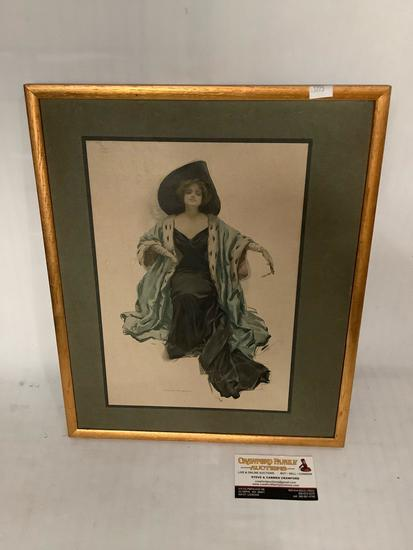 Antique 1910 Harrison Fisher print of a woman, approximately 13 x 16 inches.