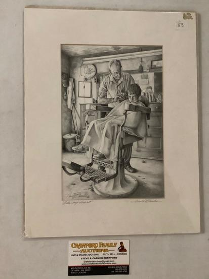 Vintage print Saturday?s Haircut by Harold Bluestein, signed and titled by artist, matted, 10 x 13