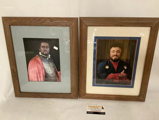 2x framed photographs of opera singers with unauthenticated signatures , Pavarotti and Domingo