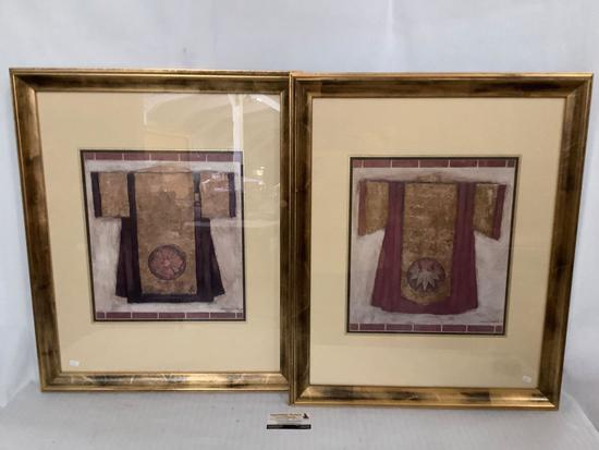 2x framed art prints by Carolyn Oltman, approx 23x27 inches