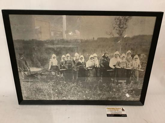 Antique framed photograph print of female farmers pulling man w/ plow approx 23x17 inches