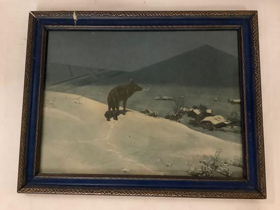 Antique framed print of lone wolf in winter on hill overlooking a village approximately 19 x 15