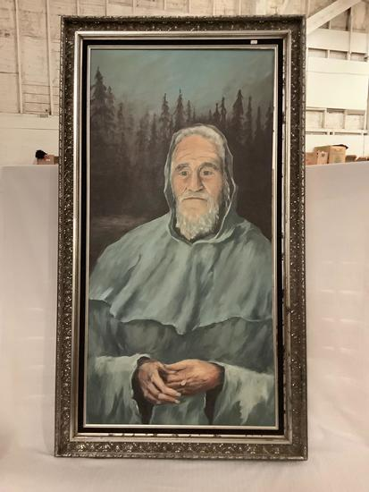 Large ornate framed original canvas portrait painting of a man in the forest wearing a poncho, 31x56