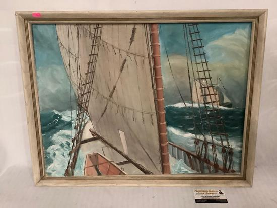 Vintage original canvas board painting of ships at sea by Fritz Dolby 1969 approximately 28 x 20