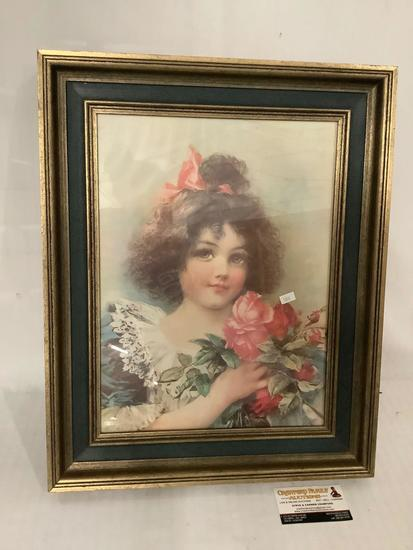 Vintage framed portrait print of a young girl with roses, approximately 17 x 21 inches