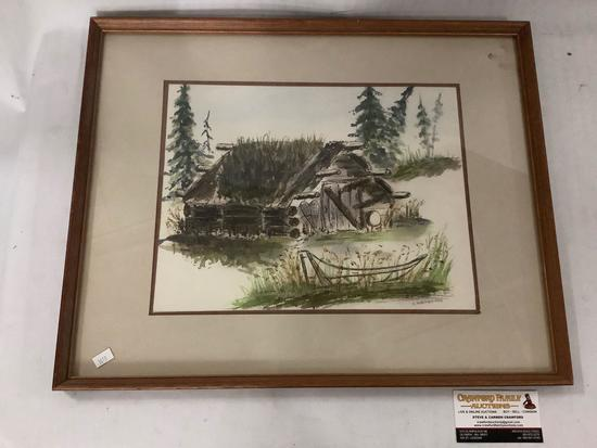 Framed original watercolor cabin painting by E. Wennersten approx 21x17 inches.