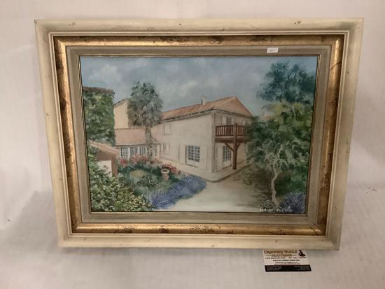 Framed original painting of a house Chez Barbara by Claude Phenix 2009, approx 22.5x18 inches.