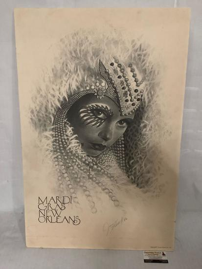Mardi Gras New Orleans poster print signed by artist James Russell 1981, approx 23x35 inches. Shows