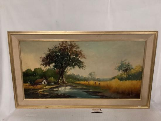 Large framed vintage original canvas painting signed by artist Del Solar, approx 45x26 inches.