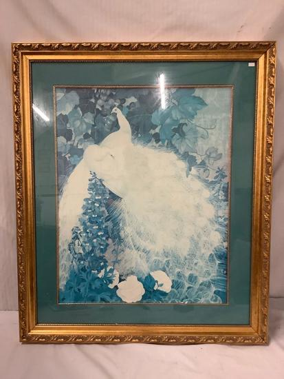 Large framed white peacocks art print by unknown artist, approximately 34 x 40 inches