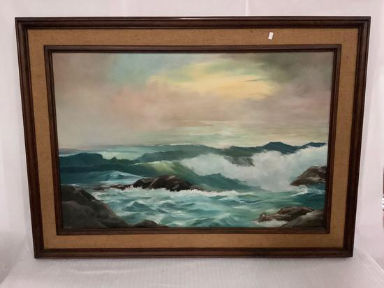 Large framed original painting of ocean waves signed by Lila lunch, 44 x 31 inches