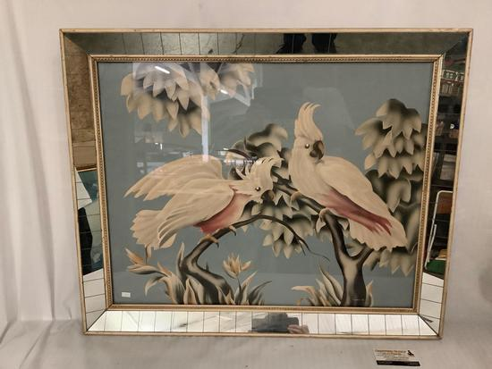 Vintage mirror framed cockatoo art by Turner, approx 32x27 inches.
