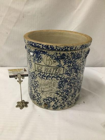 Large 6 gal. ice water crock from Monmouth Pottery in Monmouth, IL w/ clean advertising