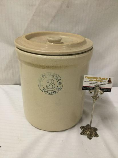 Vintage Pacific Stoneware 3 gallon crock with lid - made in Portland Oregon