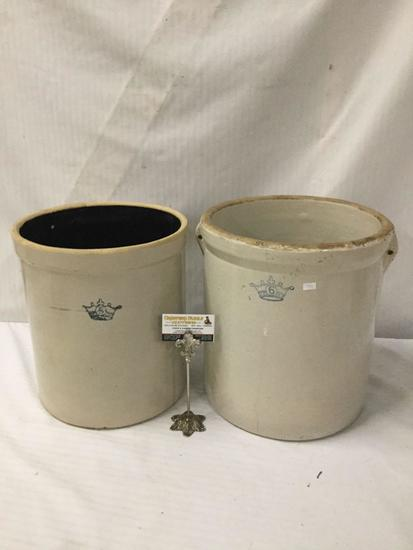 2 stoneware Ransbottom rocks ( one w/ brown inner glaze) - 5 & 6 gallon with stamped front
