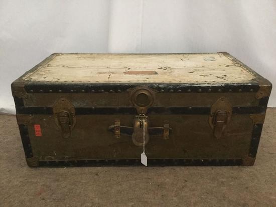 Vintage Military footlocker steamer trunk